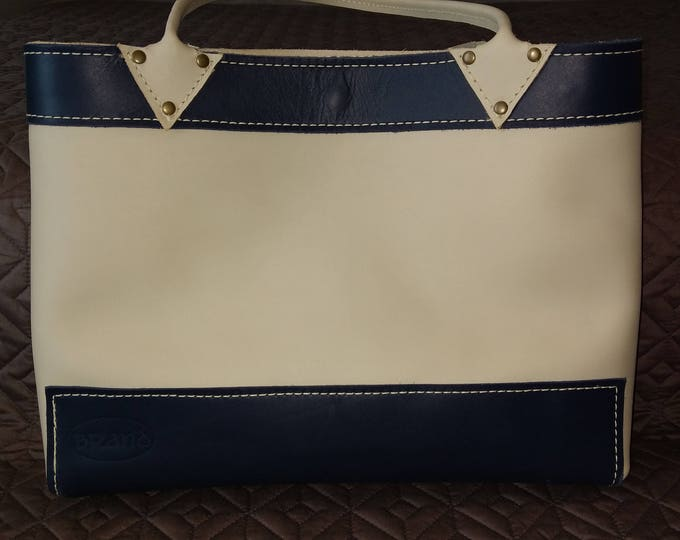 Featured listing image: Navy and Cream Leather Tote