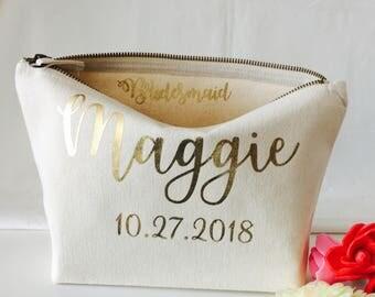 Personalised makeup bag bridal gift bridesmaid gift cosmetic bag Christmas gift