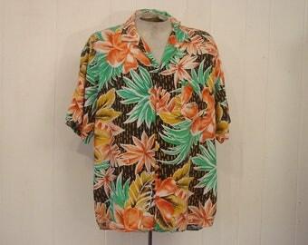Vintage Hawaiian shirt, vintage clothing, 1980s shirt, Rayon Hawaiian shirt, vintage clothing, XL