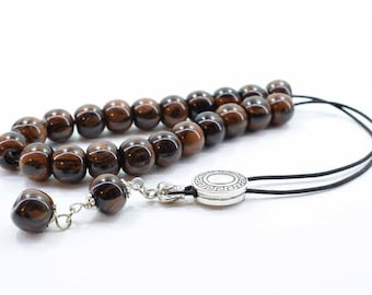 Brown Obsidian, Komboloi, Worry Beads, Greek Komboloi, Obsidian, Gift for Dad, Tesbih, Gift from Greece, Gift Wrapping, Free Shipping