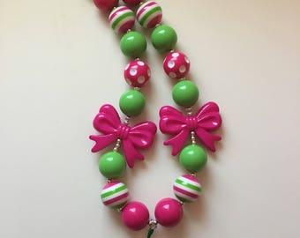Two peas in a pod bubblegum necklace