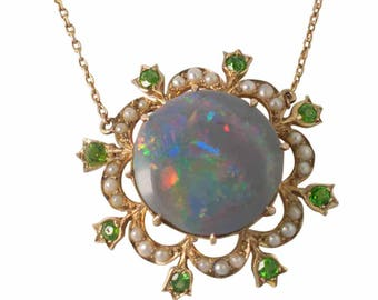 Edwardian Black Opal Demantoid Garnet and Pearl Pendant