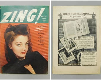 Zing! Magazine / July 1949 / No. 57 / Vintage Mens Magazine / 1940s Vintage / Pinup Magazine / Cartoons / Dirty Jokes / Gags / Pulp / 5X7
