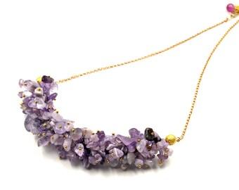 Women's Necklace Amethyst Necklace Gemstone Necklace Beaded Necklace Gift for Women Women's Jewelry Amethyst Jewelry Statement Necklace
