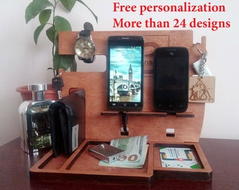 Personalization Charging Station Organizer Docking Station Men Docking Station Organizer Wood Docking Station for two iPhone Wooden stand
