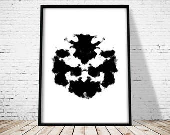 Rorschach Print, Abstract Art Print, Ink Blot, Printable Art, Abstract Poster, Office decor, Home Printable, Wall Art, Minimalist Art Print