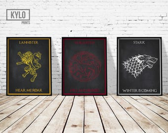 Game of Thrones Print Set, Lannister, Stark, Targaryen, Winter is coming, Game of Thrones Poster, Jon Snow, Game of Thrones Art, Movie Print