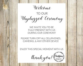Unplugged Wedding   Unplugged Ceremony   Unplugged Sign   Unplugged   No Cell Phone Sign   No Cameras Sign   Wedding Unplugged