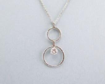 Beautiful Handmade In-House 14kt White Gold .30ct Diamond Pendant Necklace // Custom Design // Minimal Circle Piece #2428
