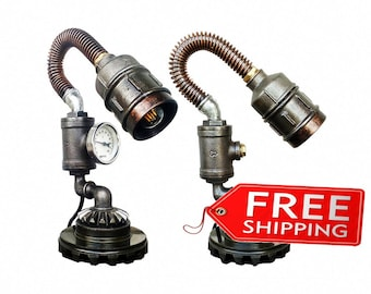Etsy gifts lamps Victorian lamps Industrial light Fixtures for the home Industrial metal table light Steampunk edison Pipe lighting