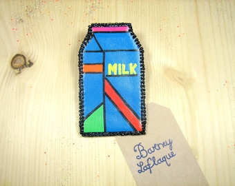 Large brooch brick milk leatherette