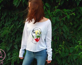 Hand painted sweater Sweatshirt Art Handpainted Handmade shirt Long sleeves White sweater women portrait Lithuanian flag Hand Women face