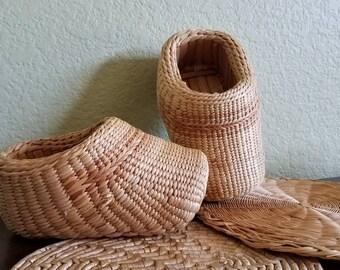 Vintage straw clogs