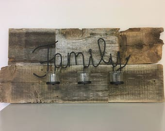 Rustic Wood Sign that says Family in Black Iron | Glass Votive Candle Holders