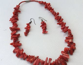 Red Coral Necklace and Earrings Set.