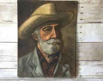 Old Man Portrait Oil Painting Vintage Art