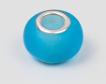 10 sky blue translucent glass European beads