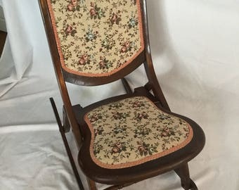 Antique Victoria Wood & Upholstery Folding Rocking Chair Circa 1800