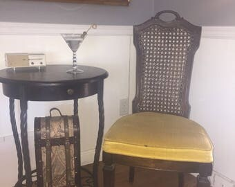 Vintage Mid Century Gold Velvet And Cane Back Chair