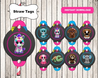 Beanie Boo chalkboard straw tags instant download, Printable Beanie Boo party straw tags, Beanie Boo straw toppers