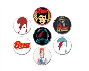 DAVID BOWIE buttons set of 6! (badges, pins, 1', 25mm, ziggy stardust, glam)