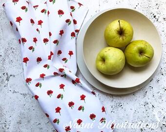 Watercolor Poppy Art on Tea Towel