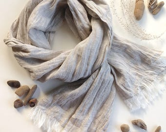 Light Taupe natural linen scarf, long washed gauzy scarf, lightweight frayed shawl for women, wrinkled with a fringe, Christmas gift
