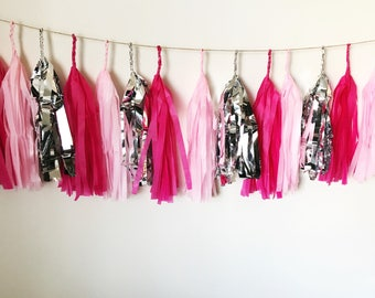 Pink, Blush and Silver Tissue Paper Tassel Garland/Pom Tassels/Party Garland/Party Tassels/Paper Banner/Party Decor/Balloon Tassels
