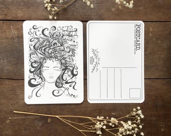 Postcard | Ink Illustration | Chance To Create | Girl Flowing Hair Drawing | Ink | Stationery | Recycled | Handmade