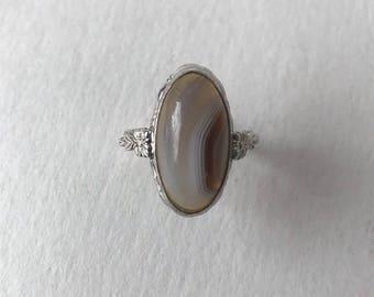 Vintage Art Deco Banded Agate Sterling Silver Ring