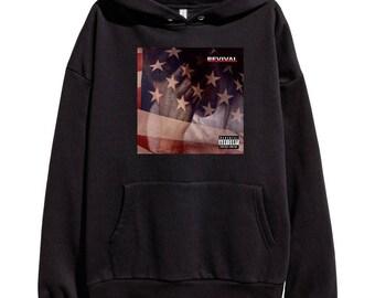Eminem Revival Album Cover Hoodie Classic Hip Hop Rap Vintage Style Sweatshirt Revival Slim Shady Records Aftermath Entertainment Detroit