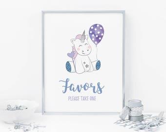 Boy Unicorn favors sign A4, Boy first birthday sign, Boys party sign, First birthday sign, Printable party favors sign, Unicorn party sign