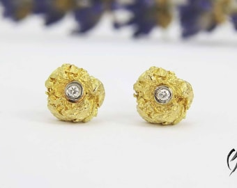 Earrings Gold 750/-with brilliant, crumpled ball