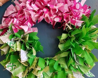 Watermelon rag wreath