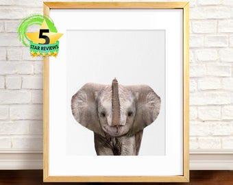 Elephant Print, Baby Nursery Wall Decor, Baby Shower Poster Gift, Baby Elephant Poster, Safari African Animal Print, Elephant Wall Art