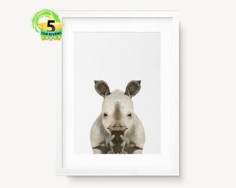 Rhino Art, Safari Art Print, Rhino Print, Kids Room Art, Zoo Art, Kids Animal Art, Rhino Wall Decor, African Wildlife Art, Africa Animal Art
