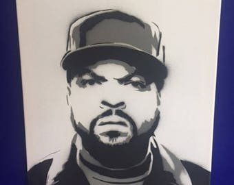 Spray painted stencil of Ice Cube (Rapper) on Canvas