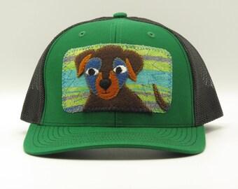 Black Pup, Green Trucker Hat