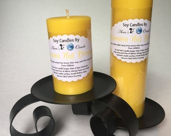 Banana Nut Bread Scented Soy Wax Pillar Candles