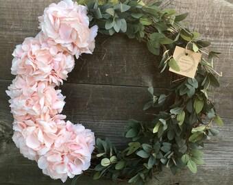 Summer wreath spring wreath hydrangea wreath farmhouse wreath farmhouse decor shabby chic wreath bridal shower wreath