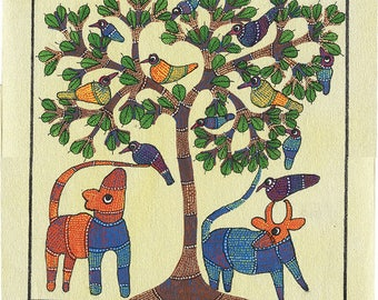 Ivory Canvaspaper, Gond Artwork, Original Acrylic.