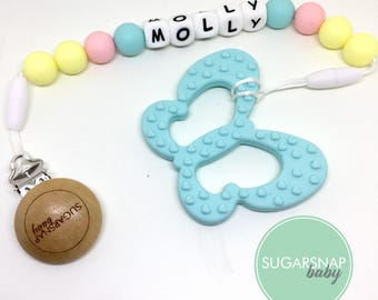Baby Present - pacifier clip and teether - butterfly chew toy - newborn gift - silicone teether - safest teether - baby toy - toddlers