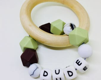 Teething Ring- Baby Bracelet - Chew Ring - Baby and Toddler Toy - teethe - silicone and Modern - Gift for Baby Shower/ wood natural organic