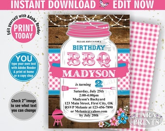 INSTANT DOWNLOAD / edit yourself now / BBQ Invitation / Bbq Birthday / Backyard / barbecue / barbeque Invite woodland pink plaid teal BDBBQ3