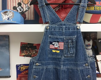 Vintage Mickey Mouse American flag shorts overalls