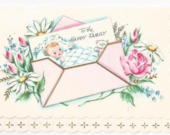 """1950s Sweet and Adorable Vintage Baby Card """"To The Happy Family"""""""