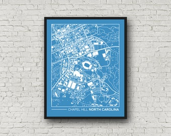 """Chapel Hill, North Carolina street map, campus map, gift for college graduation, college apartment wall art, 8x10"""""""