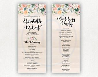 Printable, Customized Floral 2 Side, Tan Pink, Wedding Program, Ceremony Card, Wedding Party List, 4x10 Program, Letter Size, 2 on a Page