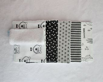 Set of 10 wipes/Washcloths in colors black and white bamboo Terry and cotton