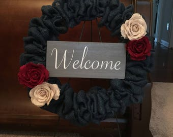 Blue Welcome Burlap Rose Wreath
